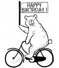 Tampon Happy Birthday Ours Vélo