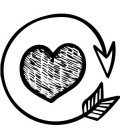 Rubber stamp - Heart and round arrow