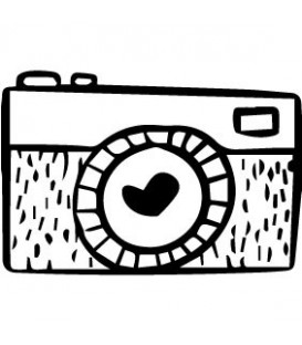 Rubber stamp - Retro camera heart