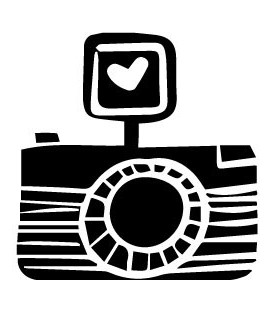 Rubber stamp - Camera Flash Heart