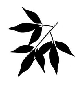 Tampon Silhouette branche de 3 x 3 feuilles
