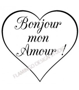 Rubber stamp - Bonjour Mon Amour Coeur