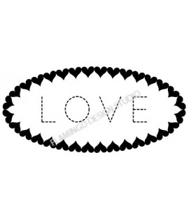 Rubber stamp - Love oval hearts