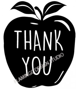 Rubber stamp - Apple - thank YOU