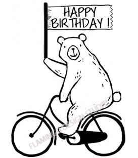 Rubber stamp - Happy Birthday Bear Bike