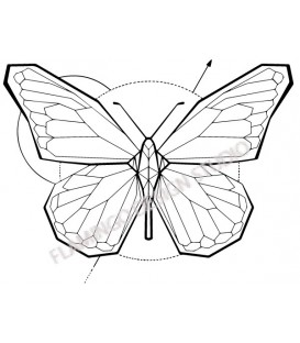 Rubber stamp on wood support - Gwen Scrap Collection 2-Butterfly origami