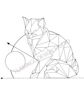 Rubber stamp on wood support - Gwen Scrap Collection 2- Cat origami