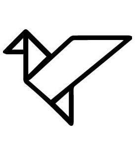 Tampon gomme naturelle -  Oiseau origami évidé