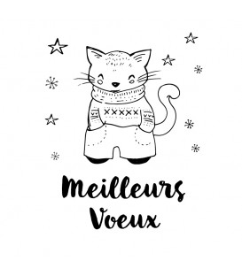 Rubber stamp - Cat with jumper meilleurs voeux