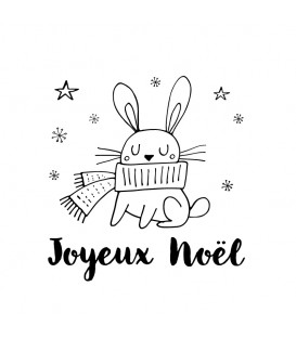 Rubber stamp - Rabbit Joyeux Noël