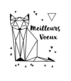 Rubber stamp - Cat Origami Meilleurs Voeux