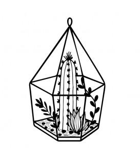 Rubber stamp - Terrarium succulents cactus