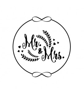 Rubber stamp - Wreath Mr & Mrs